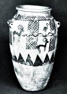 Barca de arcilla pintada con flamencos e ibexes, cultura gerziana, Egipto, c. 3400-c. 3100 aC