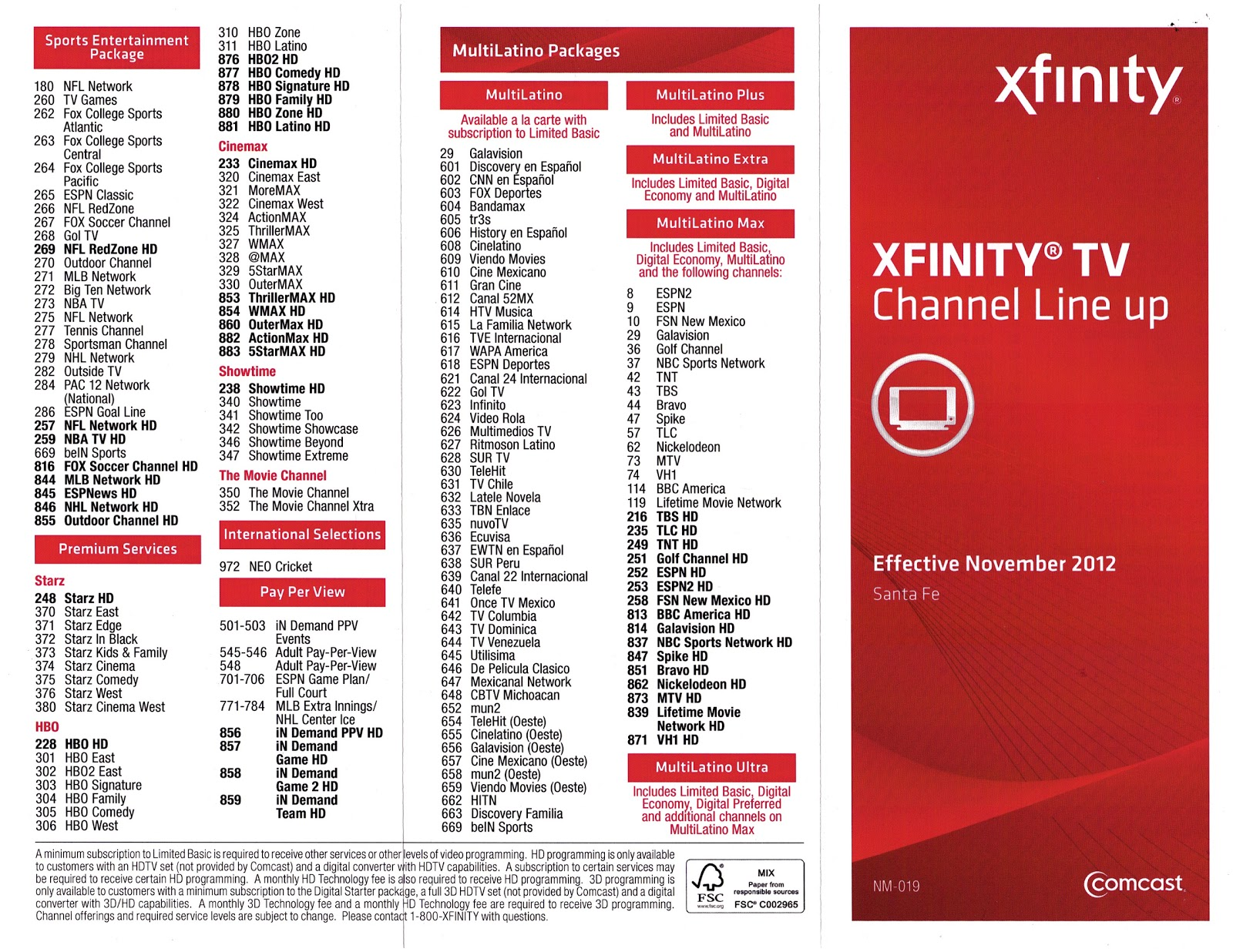 Comcast Xfinity Channel Line Up Comcast Xfinity Albuquerque