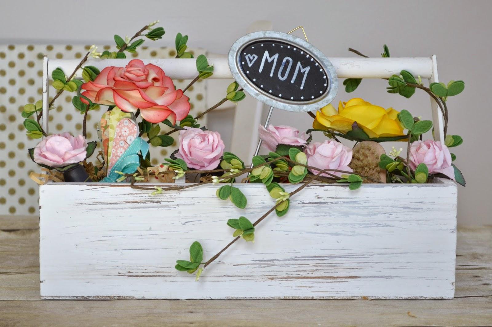 attic lace diy mother 39 s day gift flower basket. Black Bedroom Furniture Sets. Home Design Ideas