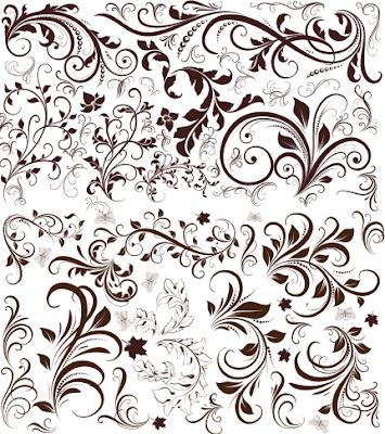 Floral Ornamen Format untuk desain CorelDraw