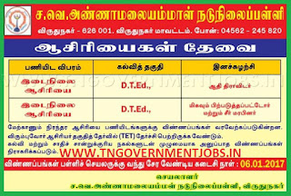 Applications are invited for Primary Teacher Post (PRT) in S.V. Annamalai Ammal Middle School Virudhunagar (Govt Aided)