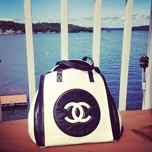 Chanel black and white tote bag