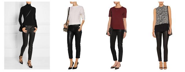 Кожаные брюки с минималистским топом