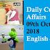 Daily Current Affairs   09th October 2018   English & Hindi
