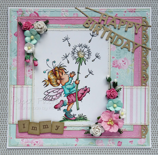 Girly card in aqua and pink with LOTV fairy image