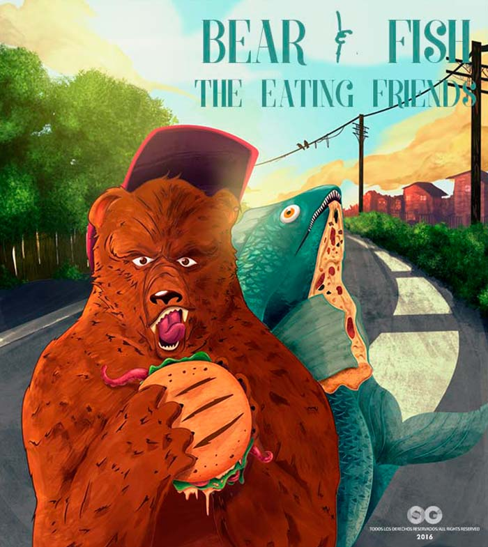 Bear and fish the eating friends de Santiago Gaviria