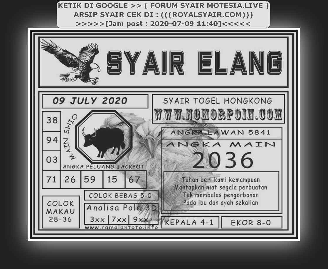 Kode syair Hongkong Kamis 9 Juli 2020 275