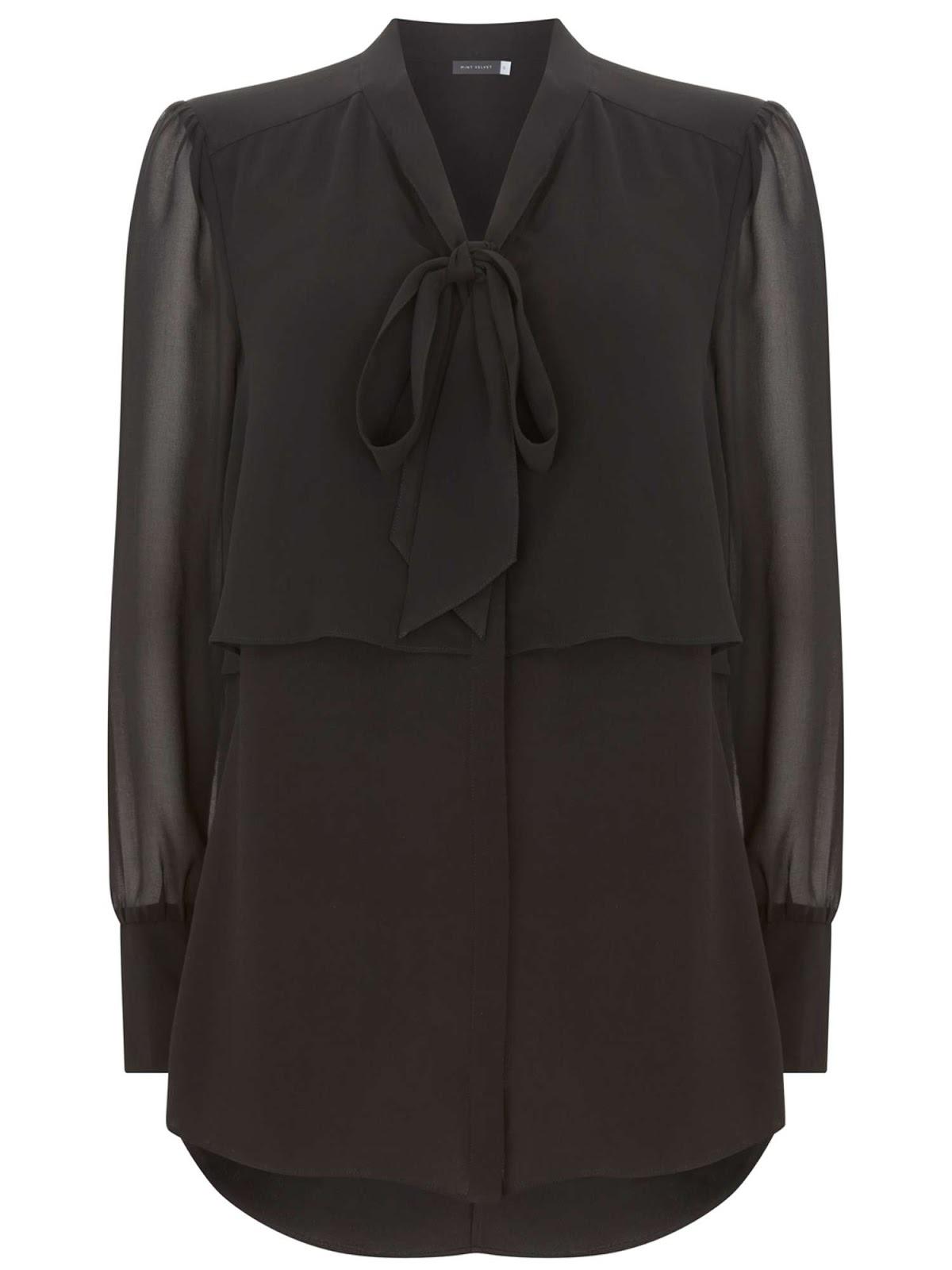 Mint velvet black pussy bow blouse