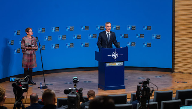Image Attribute: A press conference by NATO Secretary-General Jens Stoltenberg following the meeting of the North Atlantic Council in Foreign Ministers' session on December 4, 2018. / Source: NATO Newsroom