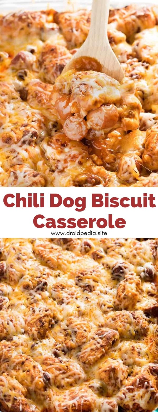 Chili Dog Biscuit Casserole #dinner #chili #dog #biscuit #casserole