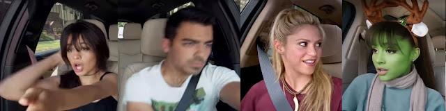Camilla Cabello, Joe Jonas, Shakira, Ariana Grande enjoying in Carpool Karaoke Series Still Image