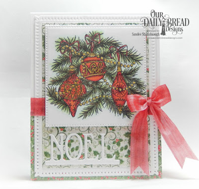 Our Daily Bread Designs Stamp Set: Noel Ornaments, Paper Collection: Holly Jolly, Custom Dies: Pierced Squares, Pierced Rectangles, Snowflake Sky, Noel Border