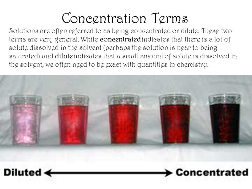 The Concentration Of A Solution Is Defined As: The Amount Of Solute Present  In A Given Amount Of Solution. Concentration Is Generally Expressed As The  ...