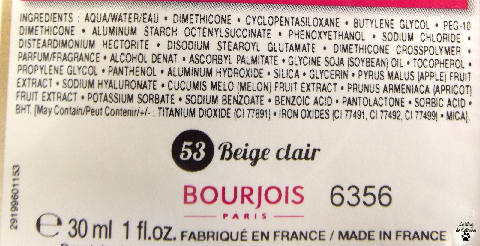 ingrédient fond de teint healthy mix de bourjois