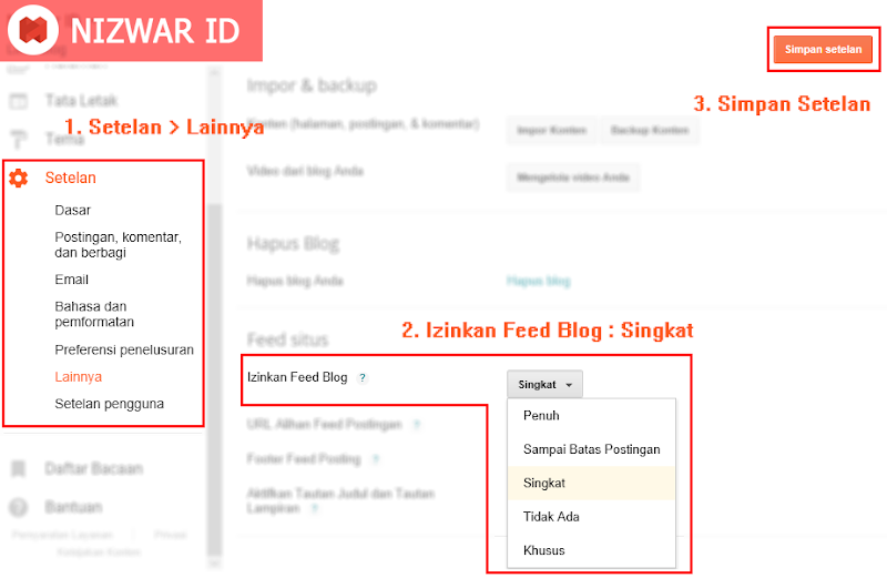 Cara Setting Feed Blog - Nizwar ID