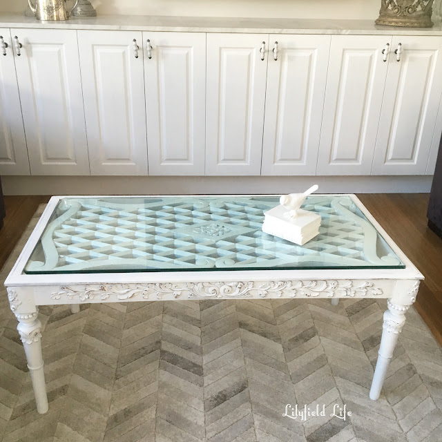 White ornate coffee table - lilyfield life