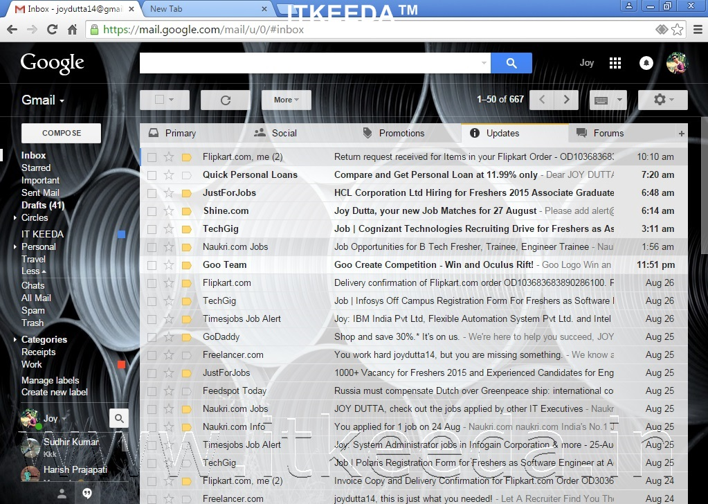 How to Change Background Of GMAIL with own photos 1