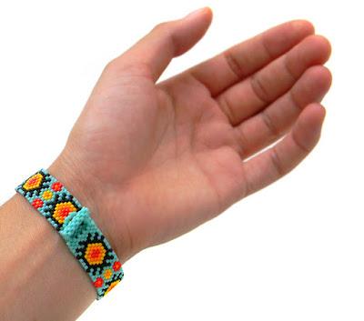 купить украшение из бисера бирюзовыйм браслет от anabel 27