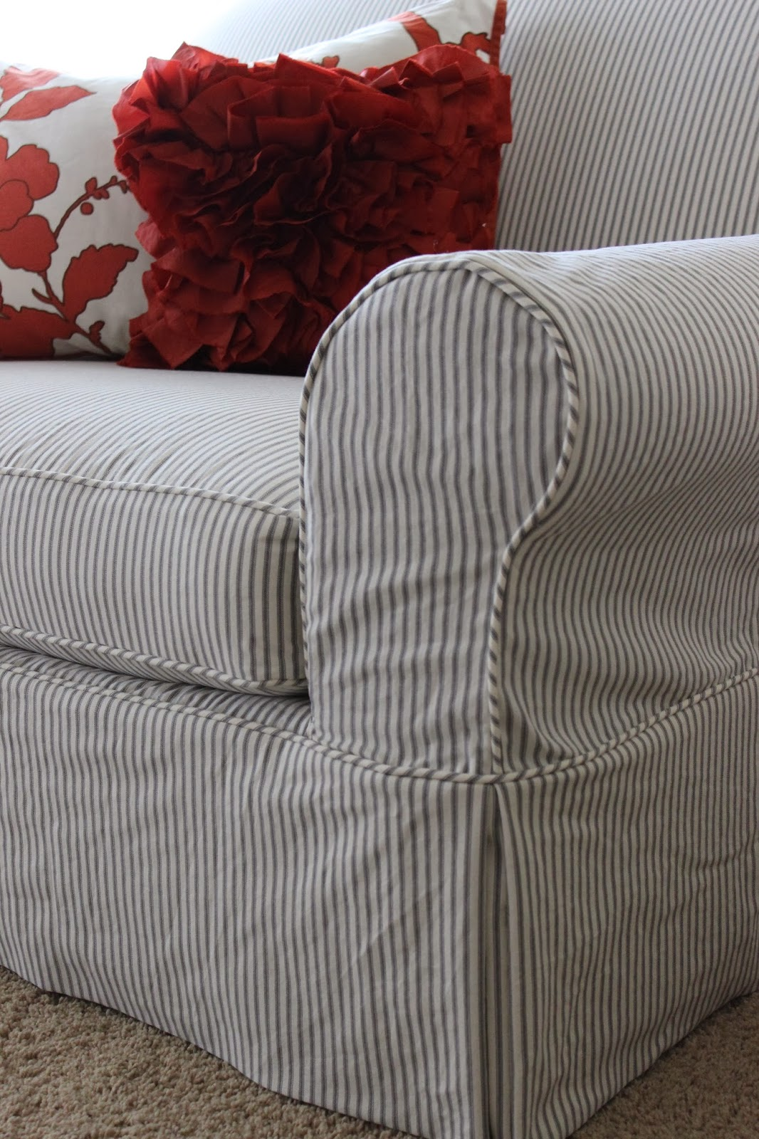 Custom Slipcovers By Shelley Ticking Stripe Chair 1 2