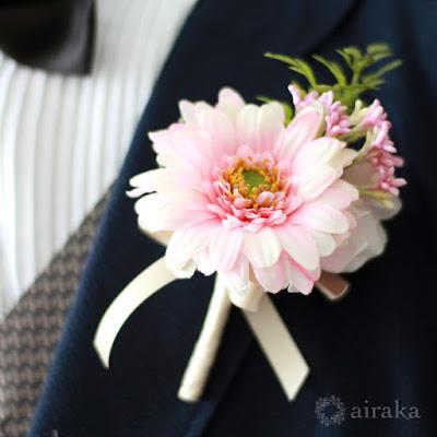 ガーベラのブーケ(ピンク)-ウェディングブーケと花髪飾りairaka