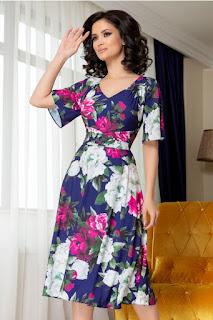 Rochie de vara marime mare indigo cu imprimeu floral