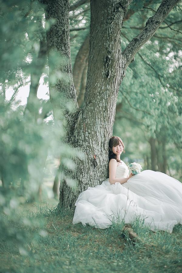 新しいスポットで前撮りフォトウェディング。大きな木の下で撮影。お嫁さんもお気に入りの写真。