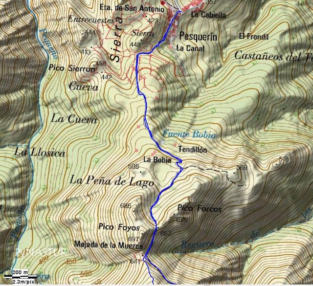 Mapa topográfico 1 Pesquerín - Pico Torre - Piloña