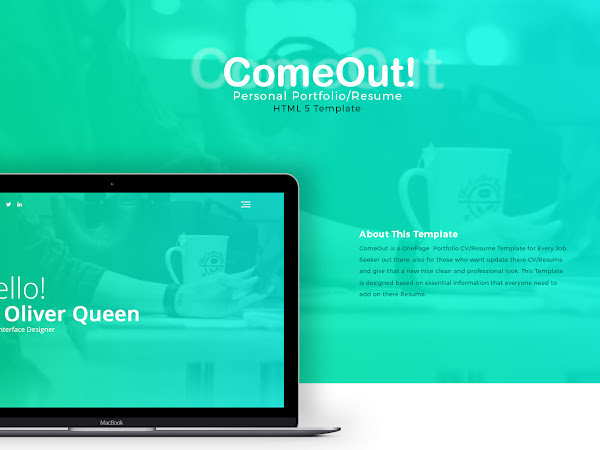 ComeOut Portfolio/Resume PSD Template Free Download