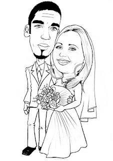 caricatura estilizada de noivos