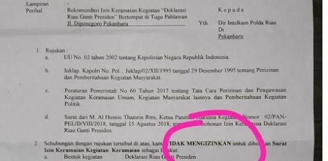 Polisi Larang Deklarasi Riau Ganti Presiden?