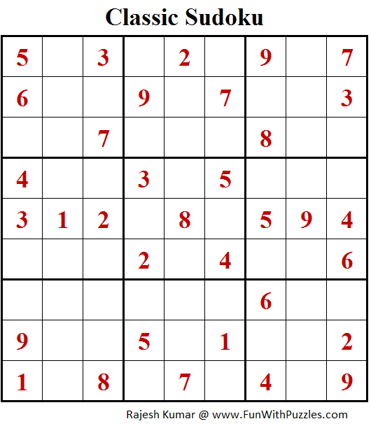 Classic Sudoku Puzzles (Fun With Sudoku #212)