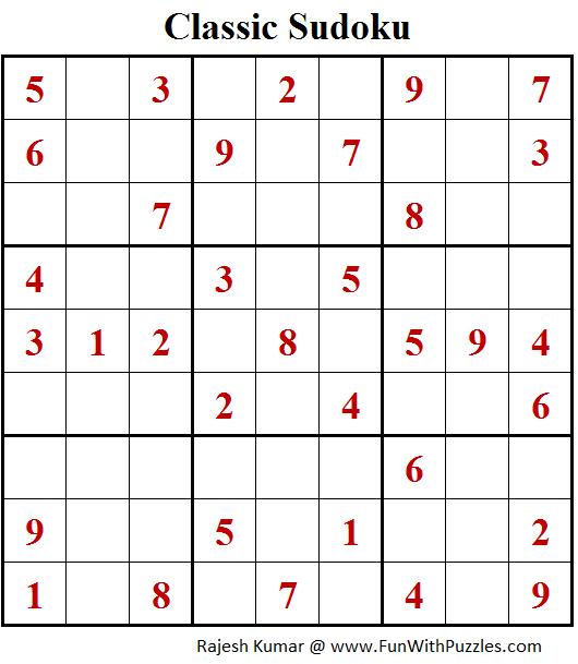Classic Sudoku Puzzles (Fun With Sudoku #212)
