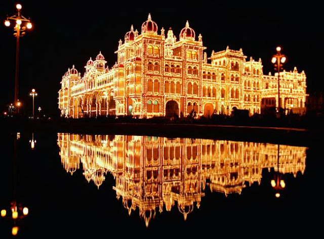 It is difficult and expensive to get rooms during this time. 2 weeks before the start of the festival people install lights throughout the city. & The Traditions of Mysore Dasara azcodes.com