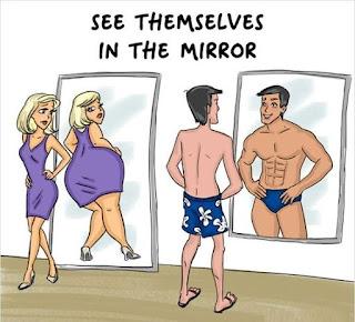 как видят себя в зеркале женщины и мужчины