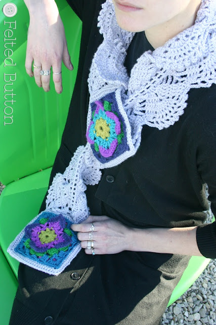 Lacey Rock Cress Scarf Crochet Pattern by Susan Carlson of Felted Button