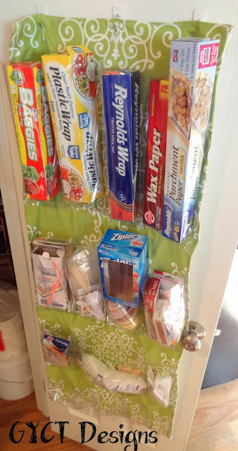 DIY Pantry Organizer made is fabric and clear vinyl