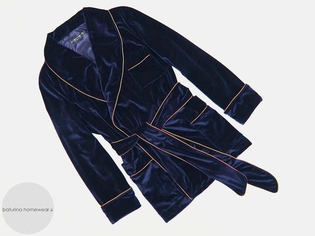 Mens blue velvet smoking jacket luxury dressing gown robe