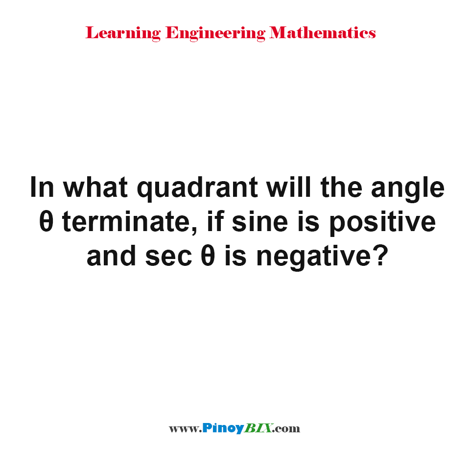 In what quadrant will the angle θ terminate