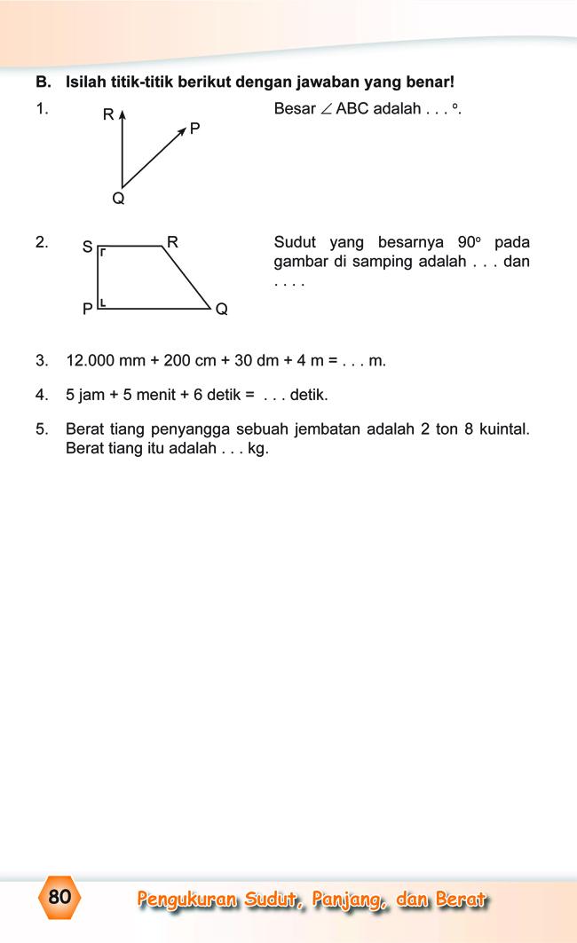 Kumpulan Soal Matematika Soal Ulangan Harian Matematika Kelas 4 Sd Bab Iii Pengukuran Sudut