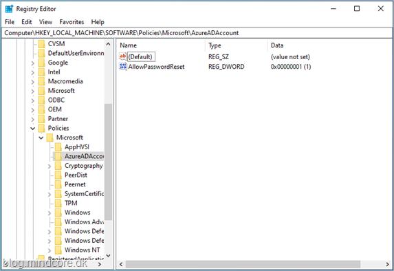 MINDCORE BLOG: Azure AD Password Reset on login screen