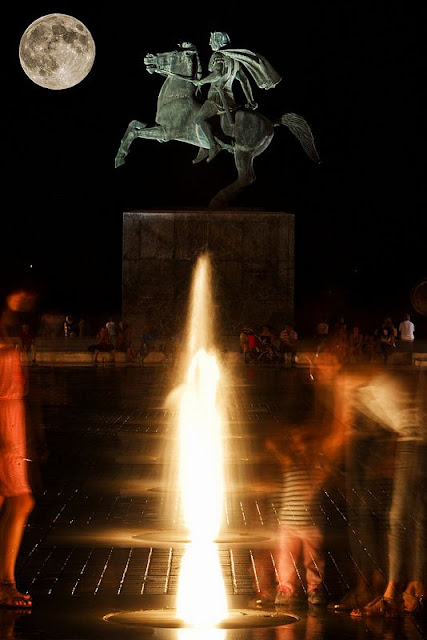 Full moon illuminating the statue of Alexander The Great.  Thessaloniki, Greece.