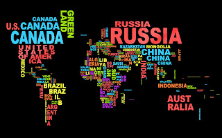 World Map Country Names Typographic HD Wallpaper