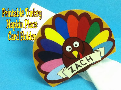 Thanksgiving Turkey Napkin Place Card Printable