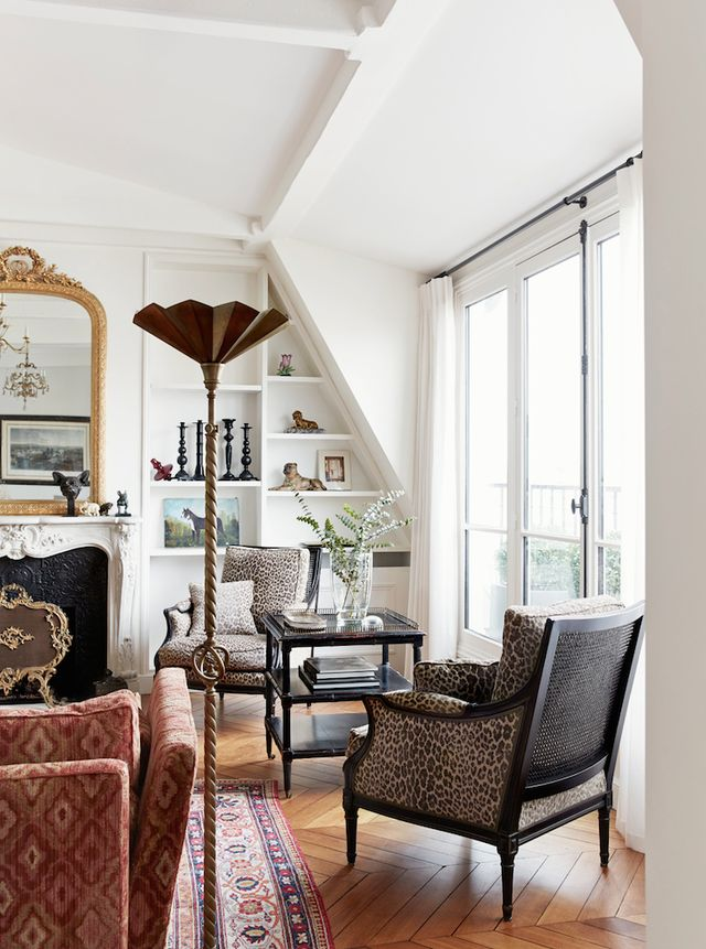 Animal Print Living Room Chairs | Glamorous Paris Apartment In St.Germain