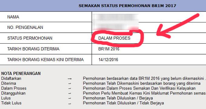 Status BR1M Duit Masuk Akaun