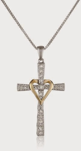 XPY Sterling Silver and 14k Yellow Gold Diamond Cross My Heart Pendant Necklace