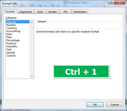 Shortcut untuk Mengubah Format Sel di Excel