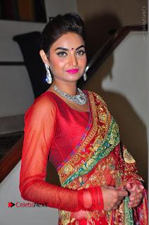 Model Sharon Fernandes Stills in Red Saree at Trendz Exhibition Launch  0018.JPG