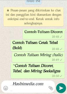 Membuat Tulisan Dicoret, Tulisan Miring dan Cetak Tebal (Bold) di Whatsapp
