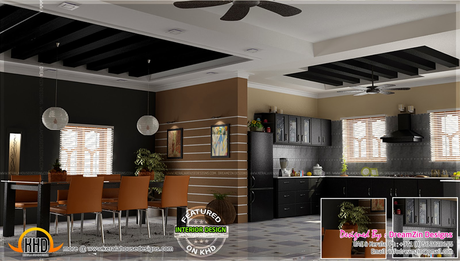 Kitchen interior dining area design home kerala plans for Kitchen dining hall design